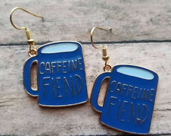 Coffee Mug Earrings Dangle Earrings Gifts for Her Statement Earrings Caffine Fiend Earrings Kawaii Earrings Coffee Mugs Coffee Jewelry