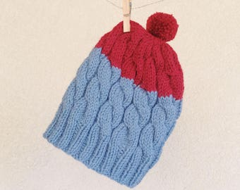 CLEARANCE | FINAL SALE | Hand knit Beanie, Grey-blue and Red, Warm Toque, Colorblock Hat, Winter Women Pom-Pom Hat