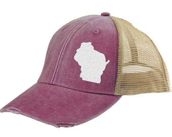 Wisconsin Trucker Hat - Distressed Snapback Trucker Hat  - off-center state pride hat - Pick your colors