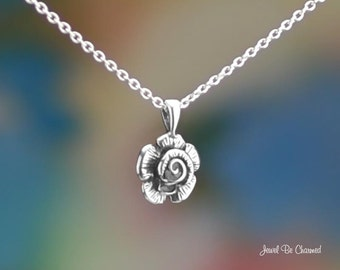 "Sterling Silver Small Rose Flower Necklace 16-24"" or Pendant Only .925"