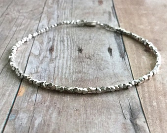 Hill Tribe Silver Bracelet | Fine Silver Jewelry | Small Tiny Bead Delicate Bracelet | Dainty Sterling Silver Beaded Jewelry