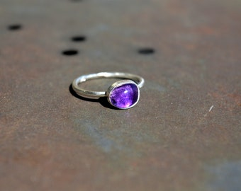 Amethyst Ring Stacking Ring Gemstone Ring Silver Ring Birthday Gift Anniversary Jewelry Gift for Her Greece Handmade Promise ring Purple