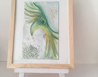 Aquarelle abstraite, peinture originale sur papier, illustration oiseau, art mural, perroquet vert style tropical, illustration exotique.