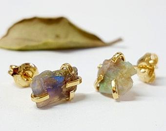 Raw opal earrings, genuine opal earrings, natural opal earrings, opal stud earrings, opal studs, opal stud earrings gold, jewelry gift idea