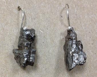 Sikhote-Alin Meteorite and Sterling Silver Earrings Handmade by Chris Hay