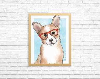 Dog Art Print, Corgi Art, Corgi Wall Art, Dog Lover Gift, Pet Portrait, Dorm Decor, Home Decor, Office Decor, Nursery Art