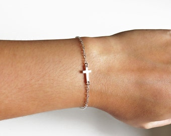Sideways Cross Bracelet, Silver Cross Bracelet, Tiny Cross Bracelet, Mini Cross Bracelet, Religious Bracelet, Gold Cross Bracelet,Side Cross
