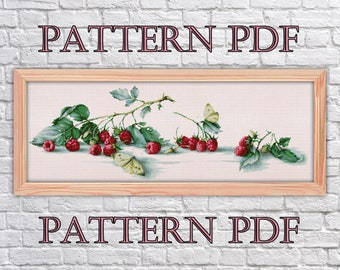 cross stitch pattern Raspberries, cross stitch berries, vintage cross stitch, Pattern PDF, cross stitch kitchen