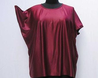 Burgundy tunic, Plus size tunic, wine caftan, claret kaftan, maroon tunic, 1x 2x 3x 4x tunic, red caftan, upcycled tunic, refashioned caftan