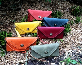 Color Leather Envelope Clutch