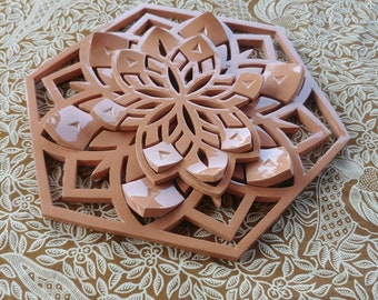 Terracotta flower mandala, natual color with transparent glaze