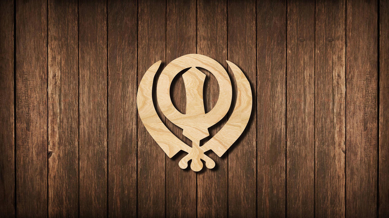 Khanda Symbol Wall Sign Logo Wooden Cutout Silhouette Room