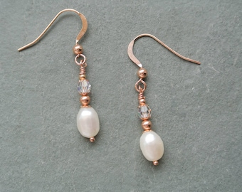 Rose Gold Filled Ivory White Freshwater Pearl Drop Earrings with Swarovski Crystals