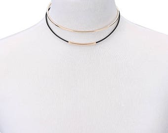 gold or silver layered choker necklace 2 layered necklace choker leather latest trend necklace choker