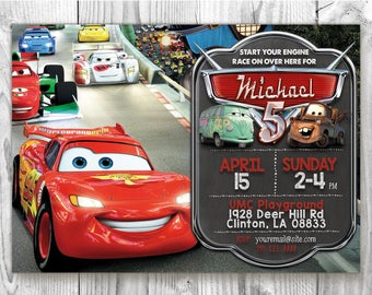 Cars Birthday Invite, 5x7 / 4x6 Cars Party Invites, Disney Cars Invitation, Chalkboard Custom Birthday Invitation