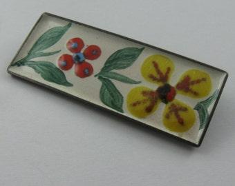50s brooch. Email enamel floral flower. Approx. 6 cm x 2 cm. HAND WORK. Vintage