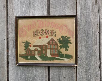 Vintage Sampler God Bless Our Home, Large Wood Framed Stitched Needlework Folk Art, Rustic Country Farmhouse Decor, Embroidered Wall Hanging