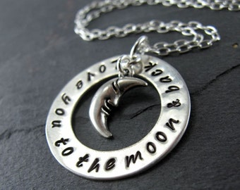 """Love You To The Moon And Back Necklace - 1"""" Hand Stamped Sterling Silver Disc, Moon Charm"""