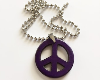 Purple Howlite Pendant and Stainless Steel Chain Necklace