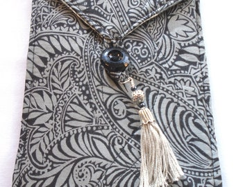 Handmade quilted bag for tarot cards oracle cards runes tribal leaf design in charcoal graysilver tassel
