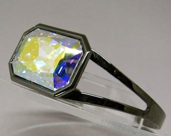 Swarovski Fancy Stone Cuff Bracelet in Crystal AB and Gunmetal . . .  One Size Fits Most