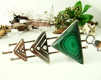 Malachite Pendants, Sterling Silver 925,Oxidised,Handmade