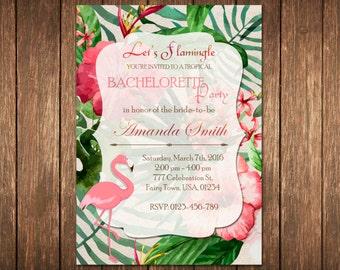 Let's Flamingle Bachelorette Invitation, Tropical Bachelorette Invitation, Flamingo Bachelorette Invitation, Tropical Flamingo Party