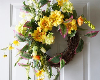 Spring Wreath, Yellow Flowers Spring Door Wreath Handmade