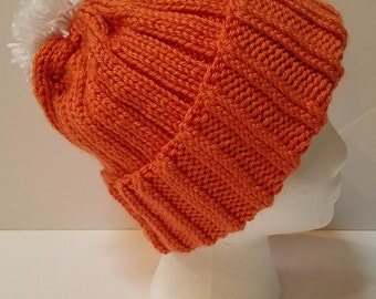 Orange Brimmed Beanie with Pompom