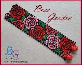 ROSE GARDEN Peyote Cuff Bracelet Pattern