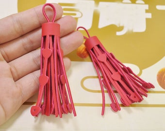 10Pcs Fringe tassels,Red tassels,heart tassels,Love tassels,leather tassels for handbags keychains diy jewelry supplies 85mm