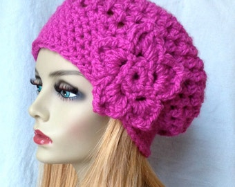SALE Crochet Slouchy Beret, Womens Hat, Fuchsia or Pick Your Color, Chunky, Warm, Teens, Birthday Gifts for Her JE475BTF2