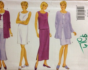 Butterick 6005 Fast and Easy Spring or Summer Wardrobe Separates Sheath, Top Skirt and Jacket - Size 14 16 18