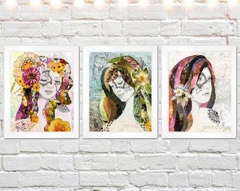 three print set, bohemian art, mixed media collage art, set of three prints, girls room decor, hippie, boho chic, female portrait prints