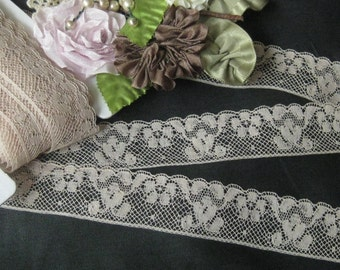 Lovely Floral Vintage French Lace - Med. Beige - (sold by the yard) Sewing, Crafts, Doll Dresses, Teddy Bear Clothes