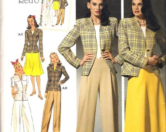 Simplicity 4044 1940s Retro Fitted Long or Short Sleeve Jacket Flared Skirt Pleated Pants Sewing Pattern Size 10 12 14 16 18 Uncut