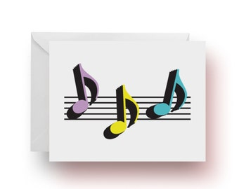Stationery, Notecards, Music Notecards, 8th Note Trio Notecards, Music Teacher Gift