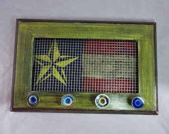 Americana style flag with star and vintage sheet music wall mount jewelry hanger