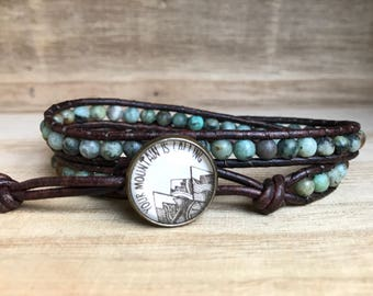 Your Mountain is Calling Double Wrap Bracelet, African Turquoise Bracelet