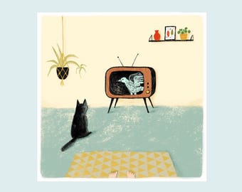 Watching together, illustration print, illustration art, interior, catlove
