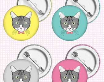 Cat • Button Badge, 38mm, assorted colours available