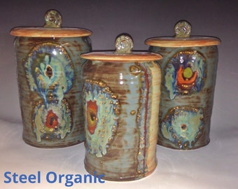Handmade 3 Piece Ceramic Kitchen Canister Set (M, L, XL Size)