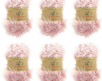 Eyelash Yarn - 6 x 50g Skeins - Pink
