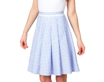 Gingham Skirt, Blue Gingham, Cotton Skirt, Summer Skirt, Flared Skirt, A Line Skirt, High Waist, Pleated Skirt, Pretty Skirt, Plaid, Eyelet