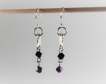 Purple Amethyst Color  Crystals Silver Dangle Earrings Simple!