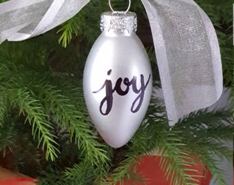 Calligraphy Christmas ornament - silver holiday decor - custom hand lettered unbreakable metallic ornament - Joy ornament - small gift tag