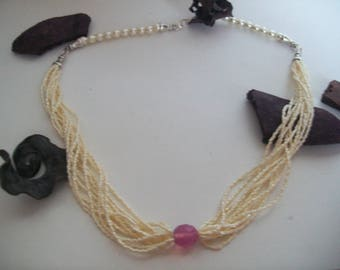 Necklace White Pearl bead and mini seed beads and glass Pearl Pink