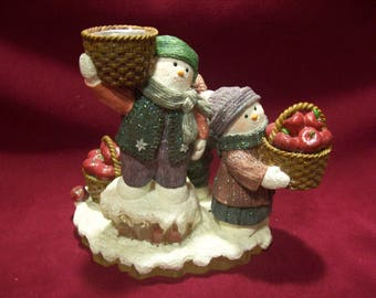 Three Snowmen with Baskets of Apples Candle Holder Figurine