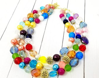 Chunky Necklace Statement Necklace Multi Strand Necklace Colorful Necklace Gifts for Girlfriends Funfetti Necklace Chunky Bib Necklace