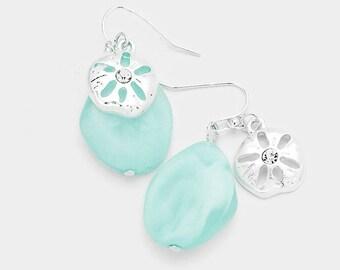Sea Glass Sand Dollar Dangle Earrings